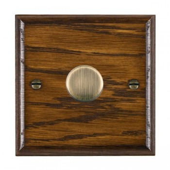 Hamilton Woods Ovolo Dark Oak 1 Gang 2 way 600W Dimmer with Antique Brass Insert