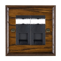 Hamilton Woods Ovolo Dark Oak 2 Gang RJ12 Outlet Unshielded Outlet with Black Insert