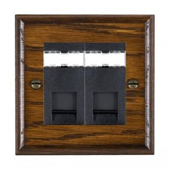 Hamilton Woods Ovolo Dark Oak 2 Gang RJ12 Outlet Unshielded Outlet with Black Insert