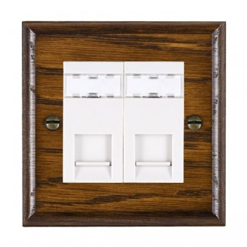 Hamilton Woods Ovolo Dark Oak 2 Gang RJ12 Outlet Unshielded Outlet with White Insert
