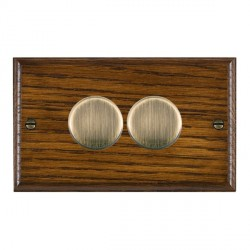 Hamilton Woods Ovolo Dark Oak 2 Gang 2 way 400W Dimmer with Antique Brass Insert