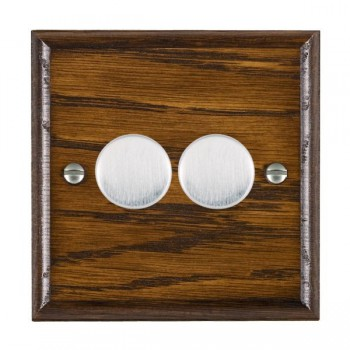 Hamilton Woods Ovolo Dark Oak 2 Gang Multi-way 250W/VA Dimmer with Satin Chrome Insert