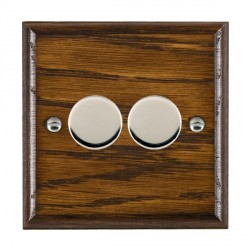 Hamilton Woods Ovolo Dark Oak 2 Gang Multi-way 250W/VA Dimmer with Bright Chrome Insert