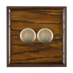 Hamilton Woods Ovolo Dark Oak 2 Gang Multi-way 250W/VA Dimmer with Antique Brass Insert