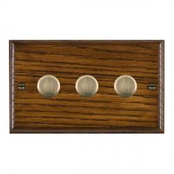 Hamilton Woods Ovolo Dark Oak 3 Gang 2 way 400W Dimmer with Antique Brass Insert