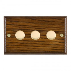 Hamilton Woods Ovolo Dark Oak 3 Gang Multi-way 250W/VA Dimmer with Polished Brass Insert