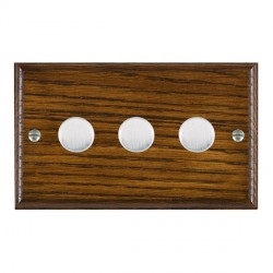 Hamilton Woods Ovolo Dark Oak 3 Gang Multi-way 250W/VA Dimmer with Satin Chrome Insert