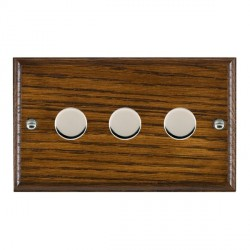 Hamilton Woods Ovolo Dark Oak 3 Gang Multi-way 250W/VA Dimmer with Bright Chrome Insert
