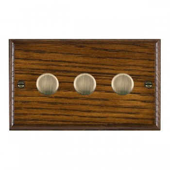 Hamilton Woods Ovolo Dark Oak 3 Gang Multi-way 250W/VA Dimmer with Antique Brass Insert