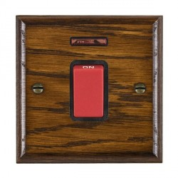Hamilton Woods Ovolo Dark Oak 1 Gang 45A Double Pole Red + Neon Rocker with Black Insert