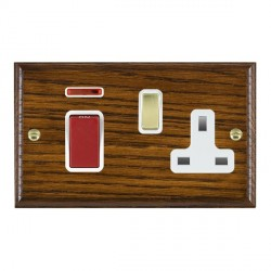Hamilton Woods Ovolo Dark Oak 1 Gang 45A Double Pole Red + Neon + 1 Gang 13A Switched Socket with White Insert