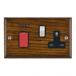 Hamilton Woods Ovolo Dark Oak 1 Gang 45A Double Pole Red + Neon + 1 Gang 13A Switched Socket with Black Insert