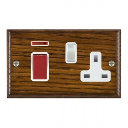 Hamilton Woods Ovolo Dark Oak 1 Gang 45A Double Pole Red + Neon + 1 Gang 13A Switched Socket with White I...