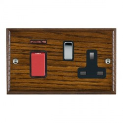 Hamilton Woods Ovolo Dark Oak 1 Gang 45A Double Pole Red + Neon + 1 Gang 13A Switched Socket with Black I...