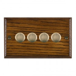 Hamilton Woods Ovolo Dark Oak 4 Gang 2 way 400W Dimmer with Antique Brass Insert