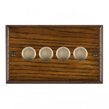 Hamilton Woods Ovolo Dark Oak 4 Gang 2 way 400W Dimmer with Antique Brass Insert