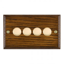 Hamilton Woods Ovolo Dark Oak 4 Gang Multi-way 250W/VA Dimmer with Polished Brass Insert