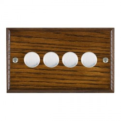 Hamilton Woods Ovolo Dark Oak 4 Gang Multi-way 250W/VA Dimmer with Satin Chrome Insert