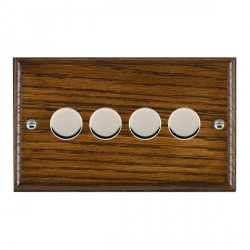 Hamilton Woods Ovolo Dark Oak 4 Gang Multi-way 250W/VA Dimmer with Bright Chrome Insert