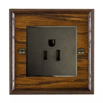 Hamilton Woods Ovolo Dark Oak 1 Gang 15A 127V American Unswitched Socket with Black Insert