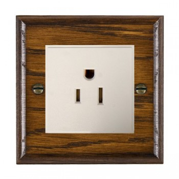 Hamilton Woods Ovolo Dark Oak 1 Gang 15A 127V American Unswitched Socket with White Insert
