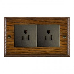 Hamilton Woods Ovolo Dark Oak 2 Gang 15A 127V American Unswitched Socket with Black Insert