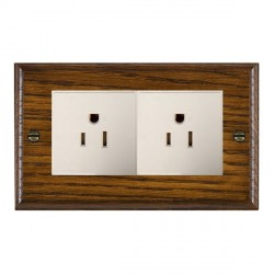 Hamilton Woods Ovolo Dark Oak 2 Gang 15A 127V American Unswitched Socket with White Insert