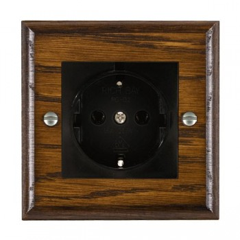 Hamilton Woods Ovolo Dark Oak 1 Gang 10/16A German Unswitched Socket with Black Insert