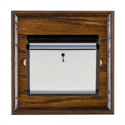 Hamilton Woods Ovolo Dark Oak 1 Gang On/Off 10A Hotel Card Switch with Black Insert