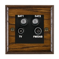 Hamilton Woods Ovolo Dark Oak 1 Gang TV + 1 Gang Satellite + 1 Gang Satellite + 1 Gang FM Outlet with Black Insert