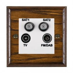 Hamilton Woods Ovolo Dark Oak 1 Gang TV + 1 Gang Satellite + 1 Gang Satellite + 1 Gang FM Outlet with White Insert