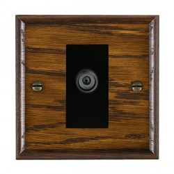 Hamilton Woods Ovolo Dark Oak 1 Gang Digital Satellite 'F' Type Outlet with Black Insert
