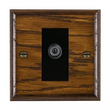 Hamilton Woods Ovolo Dark Oak 1 Gang Digital Satellite 'F' Type Outlet with Black Insert