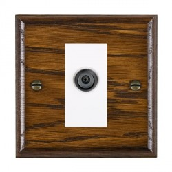 Hamilton Woods Ovolo Dark Oak 1 Gang Digital Satellite 'F' Type Outlet with White Insert