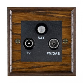 Hamilton Woods Ovolo Dark Oak 1 Gang TV + 1 Gang FM + 1 Gang Satellite Outlet with Black Insert