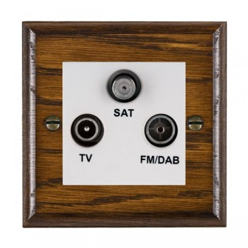 Hamilton Woods Ovolo Dark Oak 1 Gang TV + 1 Gang FM + 1 Gang Satellite Outlet with White Insert