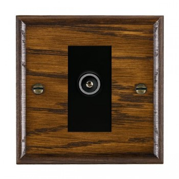 Hamilton Woods Ovolo Dark Oak 1 Gang TV (Female) Outlet with Black Insert