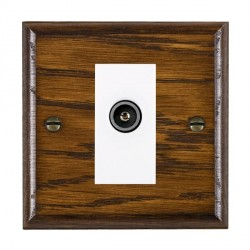 Hamilton Woods Ovolo Dark Oak 1 Gang TV (Female) Outlet with White Insert