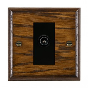 Hamilton Woods Ovolo Dark Oak 1 Gang TV (Male) Outlet with Black Insert
