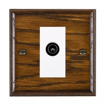 Hamilton Woods Ovolo Dark Oak 1 Gang TV (Male) Outlet with White Insert