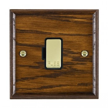 Hamilton Woods Ovolo Dark Oak 1 Gang 13A Fuse Only with Black Insert