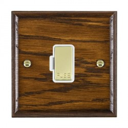 Hamilton Woods Ovolo Dark Oak 1 Gang 13A Fuse Only with White Insert