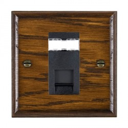 Hamilton Woods Ovolo Dark Oak 1 Gang RJ12 Outlet Unshielded Outlet with Black Insert