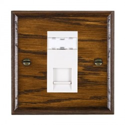 Hamilton Woods Ovolo Dark Oak 1 Gang RJ45 Cat 5E Unshielded Outlet with White Insert