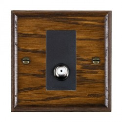 Hamilton Woods Ovolo Dark Oak 1 Gang Isolated Digital Satellite Outlet with Black Insert