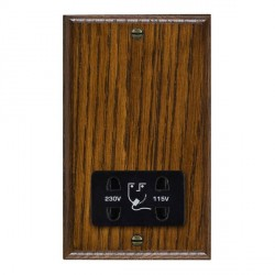 Hamilton Woods Ovolo Dark Oak Dual Voltage Shaver Socket with Black Insert