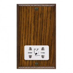 Hamilton Woods Ovolo Dark Oak Dual Voltage Shaver Socket with White Insert