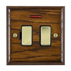 Hamilton Woods Ovolo Dark Oak 1 Gang 13A Fused Spur, Double Pole + Neon with Black Insert
