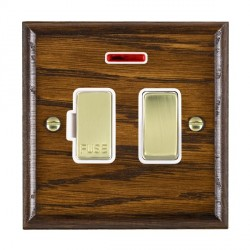 Hamilton Woods Ovolo Dark Oak 1 Gang 13A Fused Spur, Double Pole + Neon with White Insert