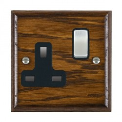 Hamilton Woods Ovolo Dark Oak 1 Gang 13A Switched Socket with Black Insert